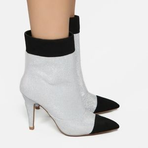 NEW Silver and Black booties size 7